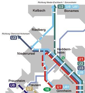 Mögliche Linienführung zur Anbindung des Riedbergs mit Linie U8 (Nieder-Eschbach - Südbahnhof) und Linie U81 (Nieder-Eschbach - Ginnheim), Plan: VCD