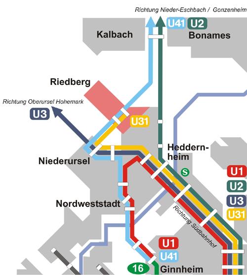 Liniennetzplan mit den Linien zum Riedberg