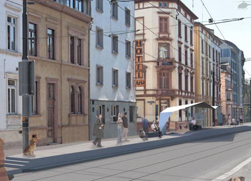 Architekturentwurf für die Station Musterschule mit zeltartiger Wartehalle
