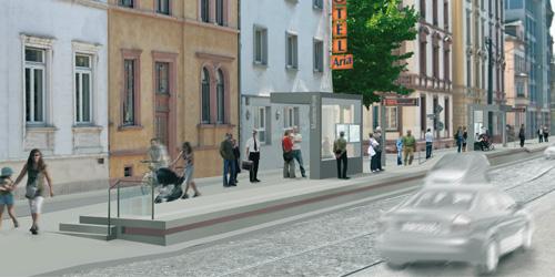 Architekturentwurf für die Station Musterschule mit zwei Fahrgastunterständen
