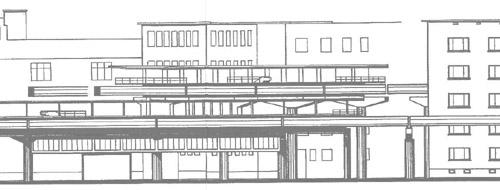 Zeichnung eines Hochbahnhofs mit zwei übereinanderliegenden Bahnsteigen mit zwei sich kreuzenden Einschienenbahnstrecken