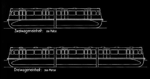 Zeichnung der Seitenansicht eines zweiteiligen Einschienenbahnzuges, darunter eine Zeichnung eines dreiteiligen Zuges