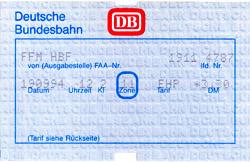 DB-Nahverkehrsfahrschein aus dem jahr 1994 (Scan: S.Kyrieleis)