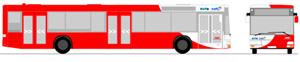 Zeichnung eines Stadtbusses im neuen rot/weissen Farbschema (Zeichnung: traffiQ)