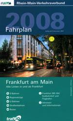 Titelblatt des RMV-Fahrplanbuch 1 für Frankfurt. Auf dem Titelfoto sind zwei sich begegnende Straßenbahnen zu sehen.