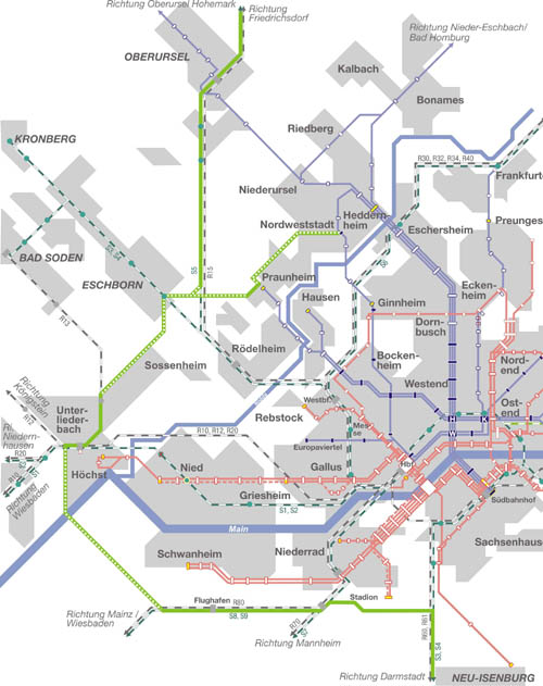 Streckenverlauf Regionaltangente West (Zweisystem-Stadtbahn von Bad Homburg über Höchst und Flughafen nach Neu-Isenburg) (Zeichnung: S.Kyrieleis)