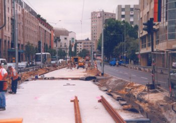 Bau der neuen Straßenbahntrasse an der Konstablerwache (Foto: S.Kyrieleis)