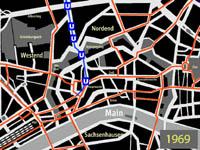 kleiner Liniennetzplan des Innenstadtbereichs mit der ersten U-Bahnstrecke