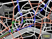 kleiner Plan des Innenstadtnetzes mit S-Bahntunnel zur Hauptwache