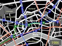 kleiner Plan des Innenstadtnetzes nach Eröffnung der U-Bahnlinien U6 und U7
