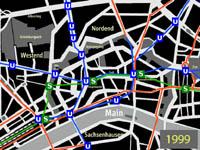 kleiner Plan des Innenstadtbereichs nach Eröffnung der Straßenbahnverbindung über die Konstablerwache