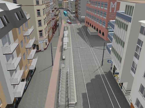 Computergrafik der Station Musterschule aus der Vogelperspektive. Am linken Bildrand die Haltestelle Richtung Preungesheim mit 80 cm hohen Bahnsteigbereich in der Mitte und 60 cm Bahnsteigbereichen an den Bahnsteigenden.