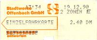 Einzelfahrkarte Offenbach 1990 (Scan: S.Kyrieleis)