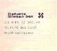 Offenbacher Fahrschein aus Thermodrucker 1992 (Scan: S.Kyrieleis)