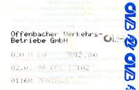Offenbacher Fahrschein mit OVB und FVV-Logo aus dem Jahr 1994 (Scan: S.Kyrieleis)