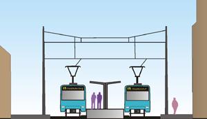 Schnittzeichnung der Haltestelle Musterschule mit Hochbahnsteigen (Zeichnung: S.Kyrieleis)