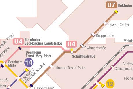 Ausschnitt des Trampage-Netzplans mit der Streckenverlängerung zur Schäfflestraße