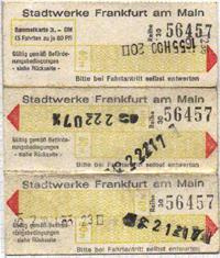 Streifenfahrkarte mit gelben Stempelfeldern (Scan:G.Wenzl)
