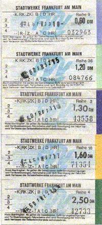 Busfahrscheine der Stadtwerke Frankfurt zu Zeiten des FVV (Scan: G.Wenzl)