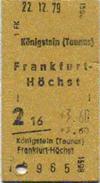 Braune Pappfahrkarte Königstein-Frankfurt mit dem Fahrpreis 3,60 DM vom 22.12.1979 (Scan: G.Wenzl)