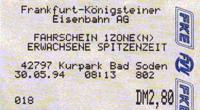 Busfahrschein der FKE aus dem Jahr 1994 mit FKE und FVV-Logo (Scan: G.Wenzl)