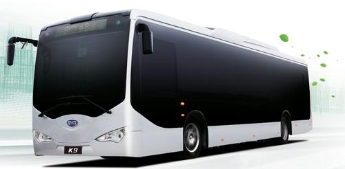 Aussenansicht eines Stadtbusses mit Elektroantrieb des chinesischen Herstellers BYD