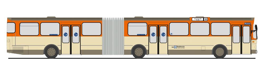 Zeichnung eines Gelenkbusses, wie er als Modell bei Rietze erscheint