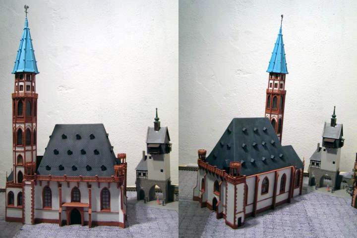 zwei Ansichten eines Modells der Nikolaikirche in Frankfurt