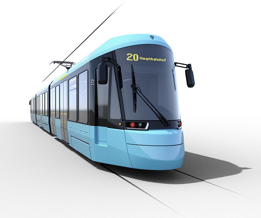 Visualisierung des neuen Straßenbahnwagens des Typ T (Bildquelle VGF)