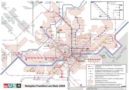 Voransicht des Liniennetzplan Frankfurt U-Bahn, Straßenbahn und S-Bahn